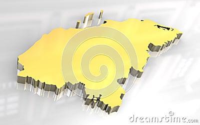 3d golden map of Honduras