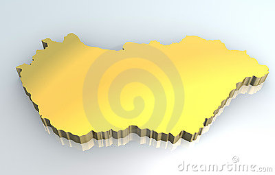 3d golden map of Hungary