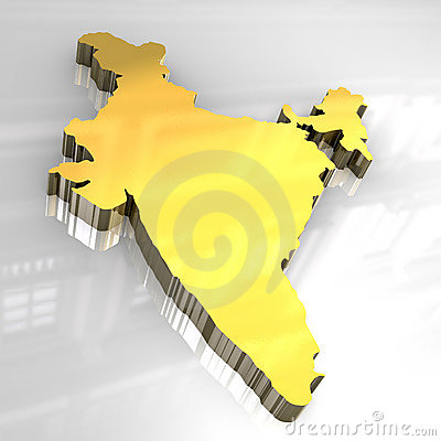 3d golden map of India