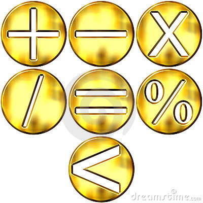 3D Golden Math Symbols