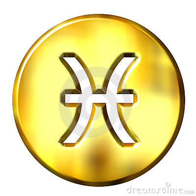 3D Golden Pisces Zodiac Sign