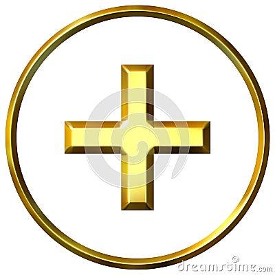 3D Golden Positive Energy Symbol