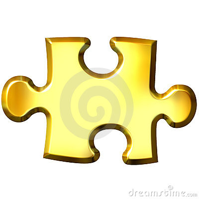 3D Golden Puzzle Piece
