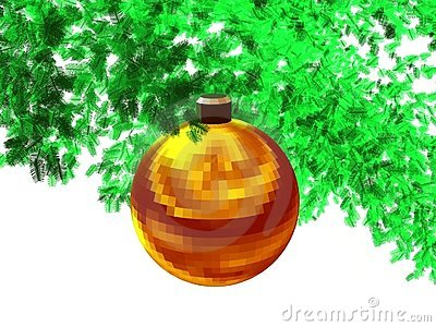 3D-Golden red faceted ball(w)