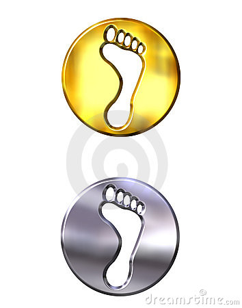 3d golden and silver framed foot