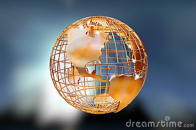 3d Golden Wire Globe Royalty Free Stock Photography - Image: 1267357