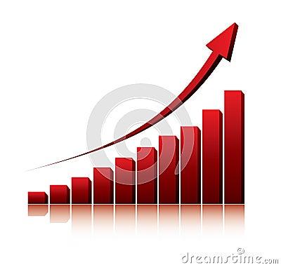 3d grafiek die stijging van winsten of inkomens toont