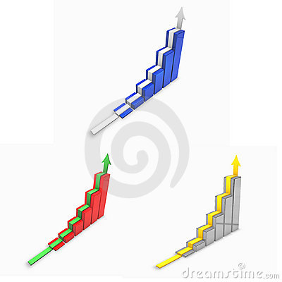 3d graph set with arrow