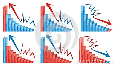 3d graphics chart blue and red