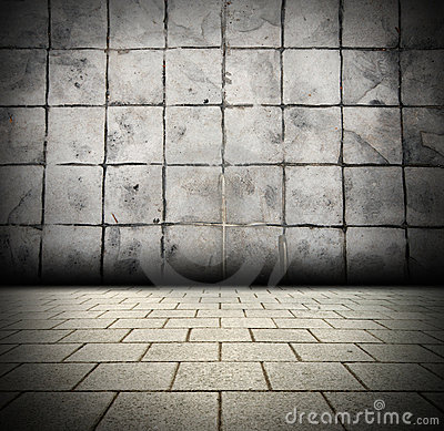 3D Gray Brick wall background beam light design te