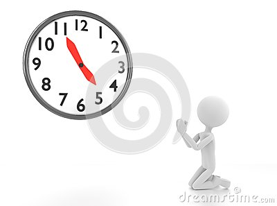 3d gray man begs for clock to reach 5 pm