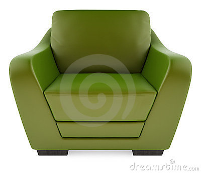 3D green chair on a white background