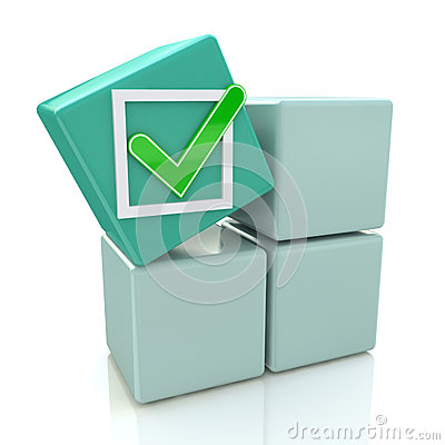 Free 3d Green Cube With Check Sign On Grey Boxes Stock Image - 45138251