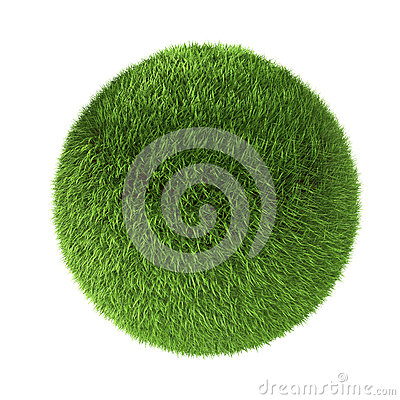 3D green grass sphere