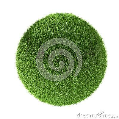 3D green grass sphere