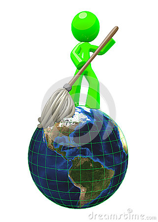 3d Green man mopping the globe 3d