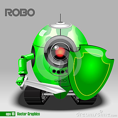 Free 3d Green Robo Eyeborg Warrior With A Sword Stock Image - 72601181