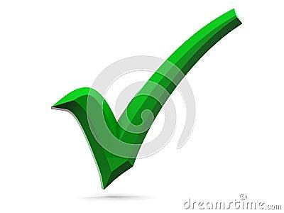 3d green tick