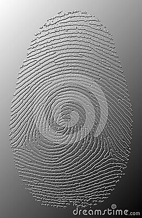 3D grey oily fingerprint on metal