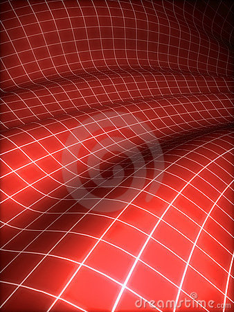 3D grid covered red surface