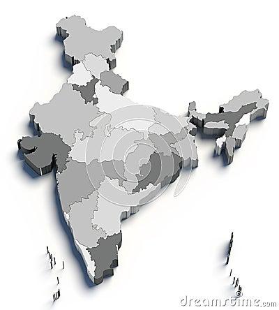 3d grijze kaart van India op wit