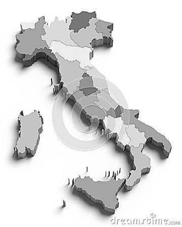 3d grijze kaart van Italië op wit