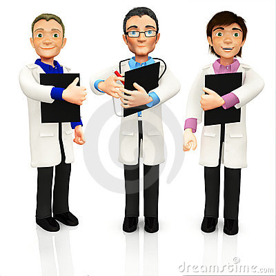 3D group of doctors