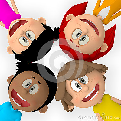 3D group of kids