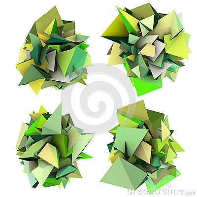 3d growing shape in multiple green