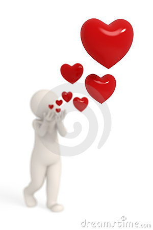 Free 3d Guy Blowing Hearts Stock Photography - 17773442