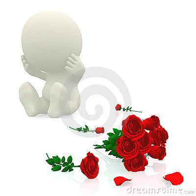 3D guy crying over roses
