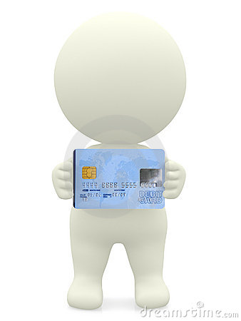 3D guy with a debit card