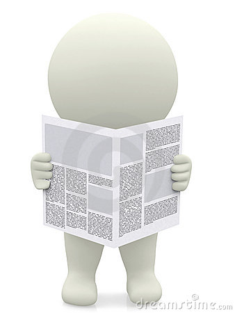 3D guy reading a newspaper