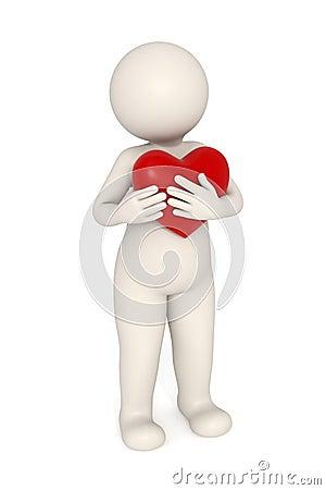 3d guy snuggling a big heart