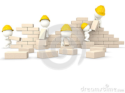 3D guys building a wall