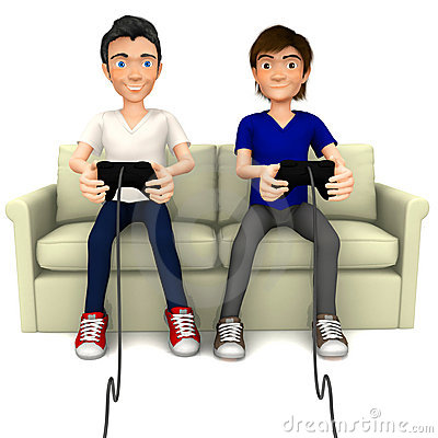 3D guys playing video games