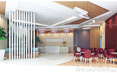 3d hall rendering, reception room