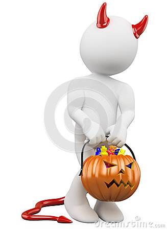 3D halloween white people. Child with a pumpkin