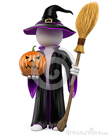 3D halloween white people. Witch with a pumpkin