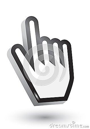 3D hand cursor symbol