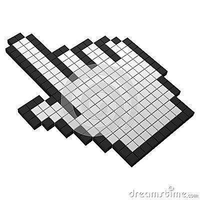 3d hand pixel icon