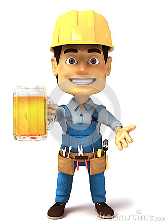Free 3d Handyman With Glass Of Beer Stock Photo - 32434480