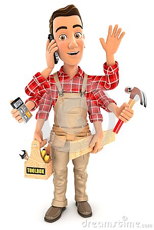 Free 3d Handyman With Six Arms Multitasking Concept Stock Image - 109083931