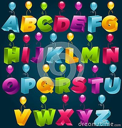3D Happy Birthday Party Alphabet
