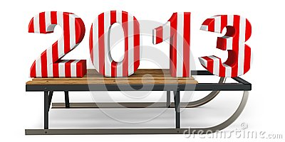 3d Happy New Year 2013 with sleigh