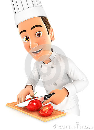 Free 3d Head Chef Cutting A Tomato Royalty Free Stock Images - 76942059