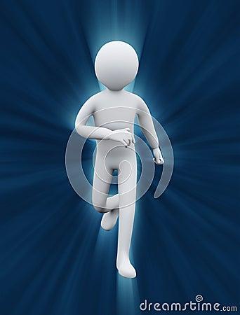 3d healthy man running