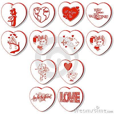 3d hearts vector