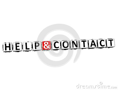 3D Help And Contact Button Click Here Block Text