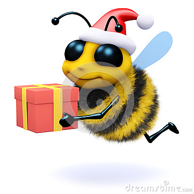 Free 3d Honey Bee Holding A Christmas Gift Royalty Free Stock Photos - 43807638